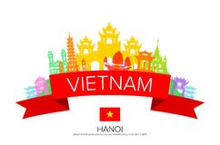 Vietnam Travel, hanoi Travel, Landmarks. Vector and Illustration Royalty Free Stock Photo