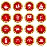 Vietnam travel icon red circle set Stock Photography