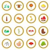 Vietnam travel icons circle Stock Photography
