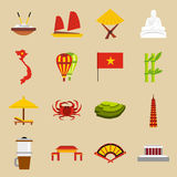 Vietnam travel icons set, flat style. Flat Vietnam icons set. Universal Vietnam icons to use for web and mobile UI, set of basic Vietnam elements isolated vector Royalty Free Stock Image