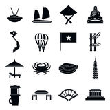 Vietnam travel icons set, simple style Royalty Free Stock Photo