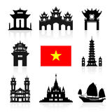 Vietnam Travel Landmarks. Vector and Illustration Stock Images