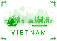 Vietnam Travel Landmarks. Vector and Illustration Stock Photography