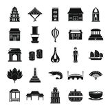 Vietnam travel tourism icons set simple style. Vietnam travel tourism icons set. Simple illustration of 25 Vietnam travel tourism vector icons for web Stock Photo