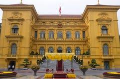 Vietnam treft voor de het welkom heten ceremonie voorbereidingen Stock Foto's