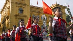 Vietnam treft voor de het welkom heten ceremonie voorbereidingen Stock Afbeelding