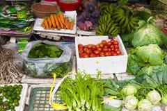 Vietnam, verduras para la venta en un mercado del ` s del granjero Fotografía de archivo libre de regalías