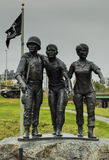 Vietnam Veteran Memorial Statue. A bronze Vietnam Veteran Memorial Statue at the Cole Land Transportation Museum in Bangor, Maine commemorates the men and women royalty free stock photo