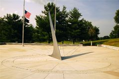 Vietnam Veterans Memorial, Frankfort Kentucky. The Vietnam Veterans Memorial in Frankfort Kentucky is designed to resemble a sun dial.  The shadow of the point Royalty Free Stock Image