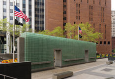 Vietnam veterans memorial. NEW YORK - APRIL 27, 2016:  American flag at the vietnam veterans memorial in downtown manhattan Stock Images