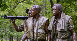 Vietnam Veterans Memorial Three Soldiers Washington D.C. A closeup of The Three Soldiers statue at the Vietnam Veterans Memorial. The Three Soldiers, also known Royalty Free Stock Photos