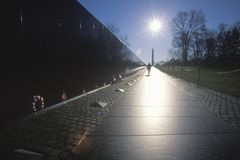 Vietnam Veterans Memorial Wall at Sunrise, Washington, D.C. Stock Photos