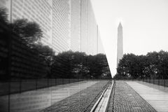 The Vietnam Veterans Memorial in Washington D.C. With the Washington Monument on the background Stock Images