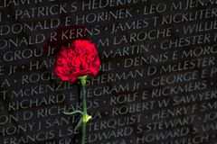Vietnam Veterans Memorial in Washington DC, closeup detail, desi. Vietnam Veterans Memorial, closeup detail, in Washington DC,  Vietnam Memorial Wall, designed Royalty Free Stock Photos