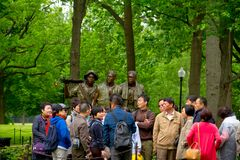Vietnam Veterans Memorial, in Washington DC,. `The Three Soldiers` statue by Frederick Hart Stock Photo