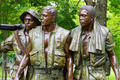 Vietnam Veterans Memorial, in Washington DC,. `The Three Soldiers` statue by Frederick Hart Stock Images