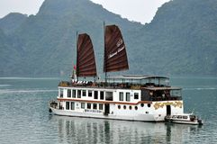 Vietnam - View of Ha Long Bay with cruise boat Royalty Free Stock Photos