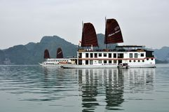 Vietnam - View of Ha Long Bay with cruise boats Stock Photos