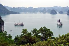 Vietnam - View of Ha Long Bay with cruise boats Stock Images