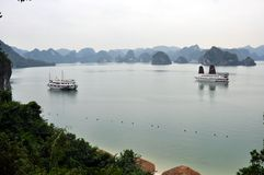 Vietnam - View of Ha Long Bay with cruise boats Royalty Free Stock Image