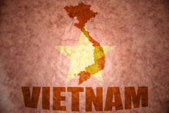 Vietnam vintage map. Vietnam map on a vintage vietnamese flag background stock images