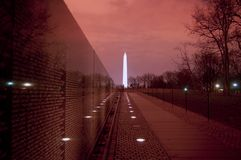 Vietnam Wall. Washinton Monument at night with Vietnam Wall Royalty Free Stock Photos