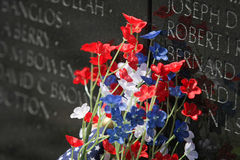 VIETNAM WALL MEOMORIAL FLOWERS Royalty Free Stock Photo