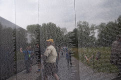 The Vietnam Wall with the names of the fallen in Washington DC USA Royalty Free Stock Photography