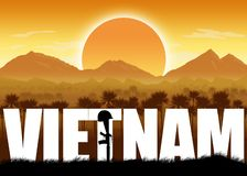 Vietnam War, banner and graphic. War Veterans. Vietnam War, graphic banner and poster. Mountains and sun background. Orange color scheme. Remembrance Day stock illustration