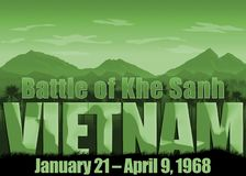 Vietnam War, battle of Khe Sahn Remembrance Day. Vietnam War, battle of Khe Sahn banner with dates. Remembrance Day. Mountains and sun background. Green color royalty free illustration