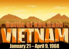 Vietnam War, battle of Khe Sanh. Vietnam War, battle Khe Sanh banner with dates. Mountains and sun background. Orange color scheme vector illustration
