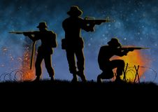 Vietnam war combat scene with 3 US soldier silhouette. Vietnam war image with 3 US soldier silhouette on a battlefield. Night time scene. Shooting their weapons stock illustration