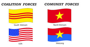 Vietnam war flags and coalitions. Illustration indicating the two coalitions that materially fought in Vietnam War: USA and South Vietnam versus Nort Vietnam ( stock illustration