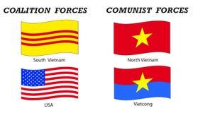 Vietnam war flags and coalitions stock photos