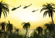 Free Vietnam War - Helicopter Formation Over Jungle Royalty Free Stock Image - 179842766