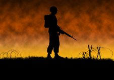 Vietnam war image of a lone US soldier silhouette. Vietnam war image with US soldier silhouette on a battlefield. A lone man on the battlefield with barbed wire royalty free illustration