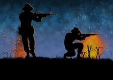 Vietnam war image with 2 US soldier silhouette. Vietnam war image with2 US soldier silhouette on a battlefield. Night time scene. Shooting their weapons royalty free illustration