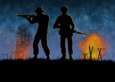 Vietnam war combat scene with 2 US soldier silhouette. Vietnam war image with2 US soldier silhouette on a battlefield. Night time scene. Shooting their weapons vector illustration