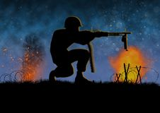 Vietnam war image with US soldier silhouette. On a battlefield. Nights scene with explosions and fire. Machine gun combat. Original illustration vector illustration