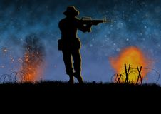Vietnam war image night scene with US soldier silhouette. Vietnam war image with US soldier silhouette on a battlefield. Nights scene with explosions and fire stock illustration