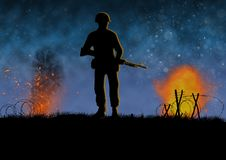 Vietnam war image with US soldier silhouette. On a battlefield. Nights scene with explosions. Original illustration royalty free illustration
