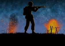 Vietnam war image with US soldier silhouette. On a battlefield. Shooting his assault rifle. Nights scene with explosions. Original illustration royalty free illustration