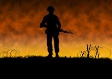 Vietnam war image with US soldier silhouette. On a battlefield. Soldier wearing a helmet holding a machine gun. Original illustration royalty free illustration