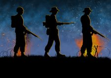 Vietnam war image with 3 US soldier silhouettes. Vietnam war image with US soldier silhouette on a battlefield. Walking in a combat zone. Night time and royalty free illustration