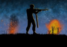 Vietnam war image with US soldier silhouette in combat. Vietnam war image with US soldier silhouette on a battlefield. Shooting his machine gun. Nights scene royalty free illustration