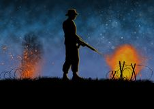 Vietnam war image. Night time combat with US soldier silhouette. Vietnam war image with US soldier silhouette on a night time battlefield. A lone man on the stock illustration