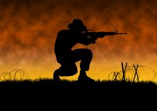 Vietnam war image with US soldier silhouette. On a battlefield. Man with hat crouching and shooting an assault file. Orange background. Original illustration vector illustration