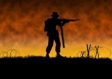 Vietnam war image with US soldier silhouette. On a battlefield. Man holding machine gun. Orange background. Original illustration vector illustration