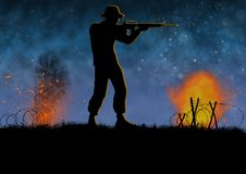 Vietnam war image with US soldier silhouette. On a battlefield. A man shooting his rifle in combat. Original illustration stock illustration