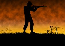 Vietnam war image with US soldier silhouette. On a battlefield. Man wearing a hat and shooting assault rifle. Orange background. Original illustration stock illustration